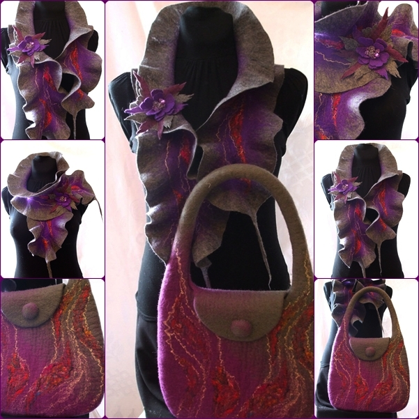 Pilkai violetinis komplektas