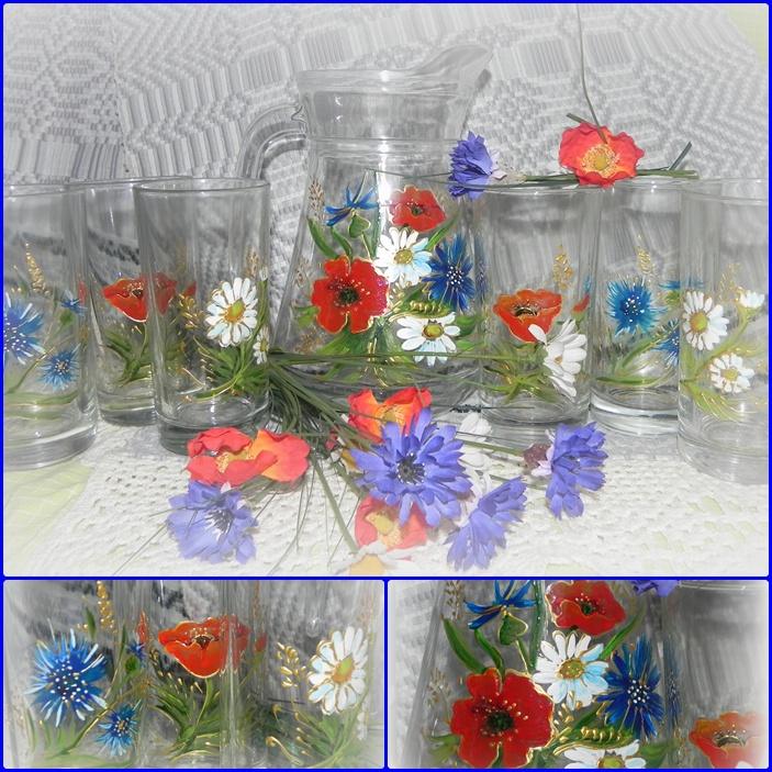 """Ąsotis su stiklinaitėmis """"Vasara """""""