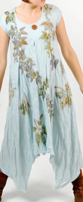 """lininė suknelė papuošta augaliniais motyvais """"vijoklio apraizgyta"""""""