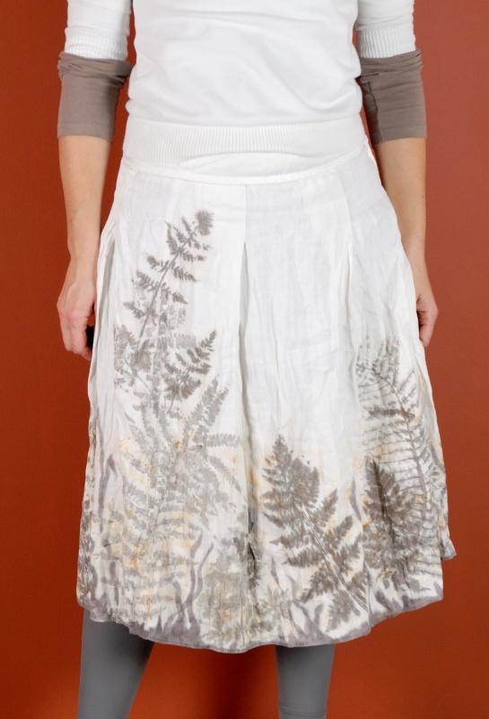 """lininis sijonas puoštas augaliniai motyvais """"paparčiai"""""""