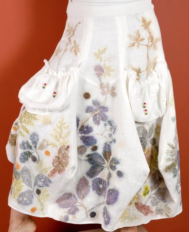 """lininis sijonas puoštas augaliniais motyvais """"pieva"""""""