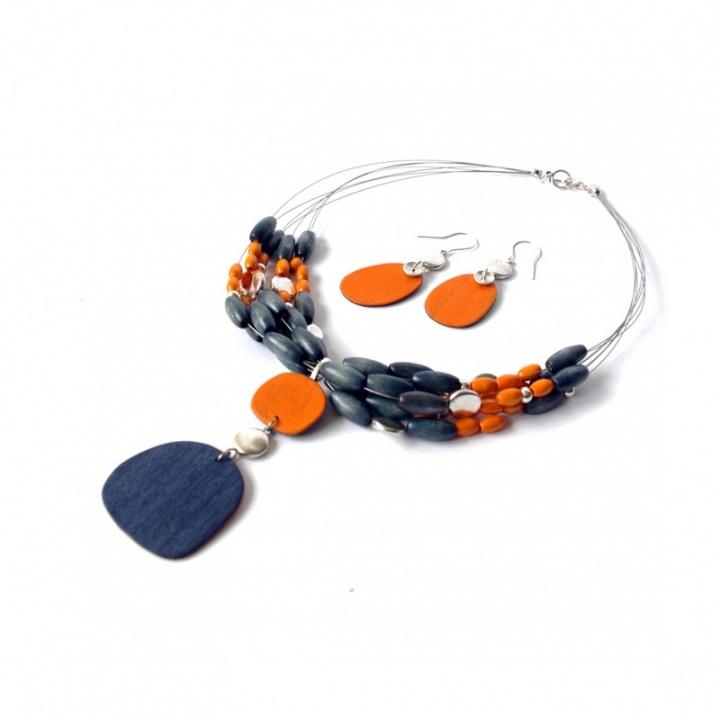 Oranžiniai mėlyni ovalai - kaklo kolje