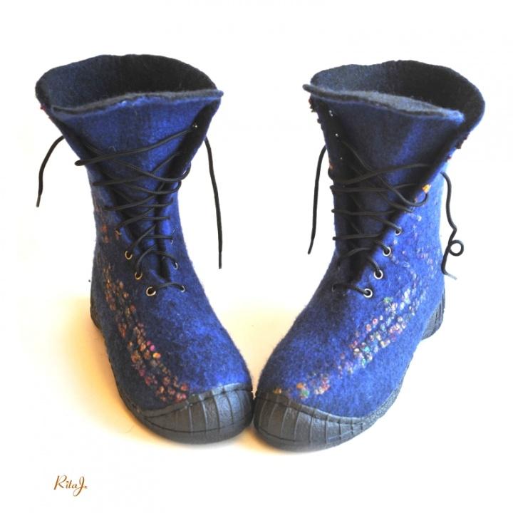 Veltinio batai / felted boots BLUE