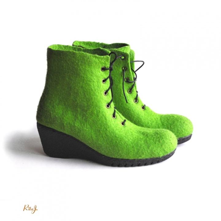 Veltinio batai / felted boots GREEN