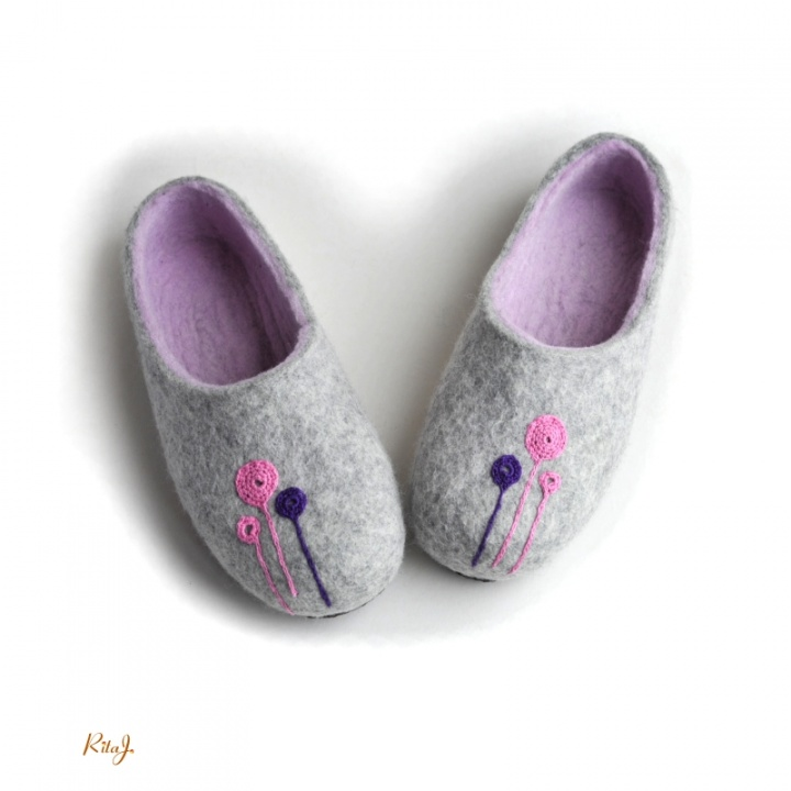 Veltinio šlepetės/ felted slippers Blum
