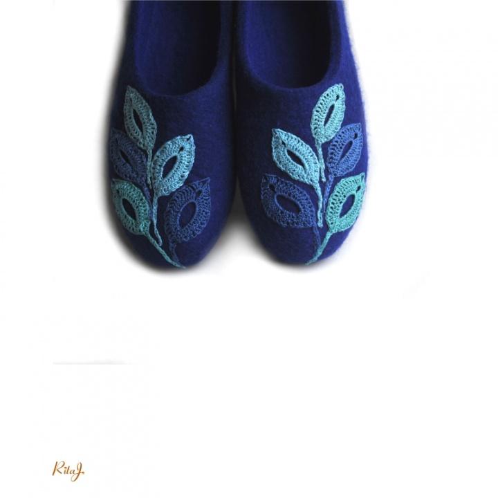 Veltinio šlepetės/ felted slippers TEAL