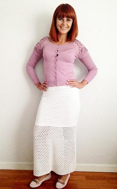 Ilgas  nertas sijonas vasarai