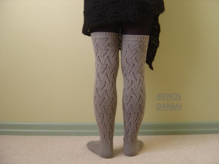Ilgos ,virbalais megztos kojines