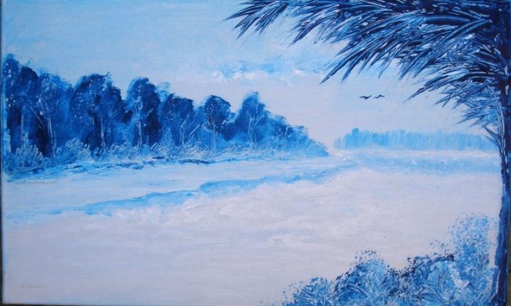 mėlynai baltas peizažas