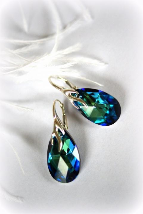 Mėlyni kristalų auskarai