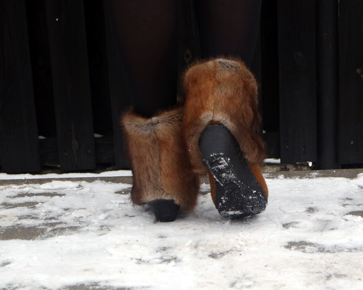 Vienetiniai veltinio batai su natūraliu ondatros kailiu, 38,5 dydis EU