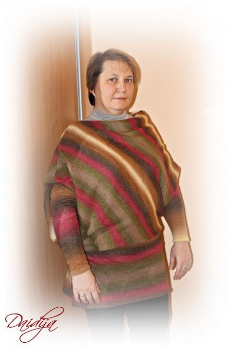 asimetrinė melanžinė suknelė - tunika