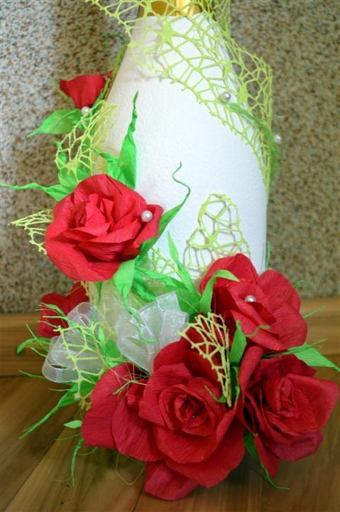 Dekoruotas butelis vestuvėms