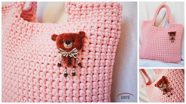 Draugas meškis - Rožinė virvelinė rankinė