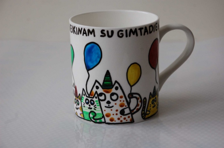 """Gimtadienio puodelis """"Linksmieji katinukai"""""""