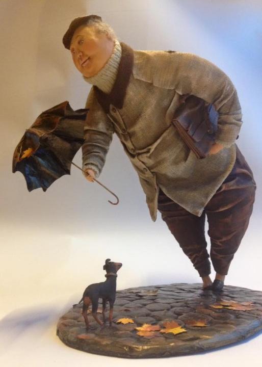"""Interjerinė lėlė """"Vyras ir šuniukas"""""""