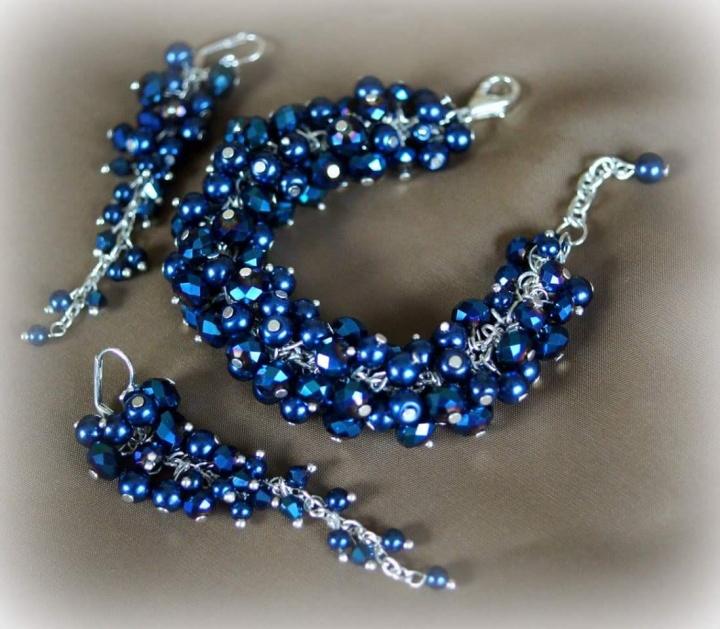 Karališkai mėlynas kristalų komplektas