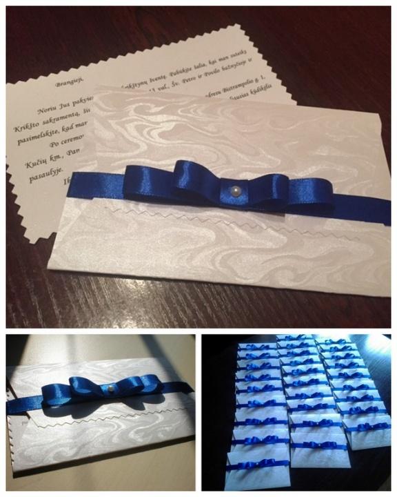 Krikštynų kvietimai su mėlynu kaspinėliu