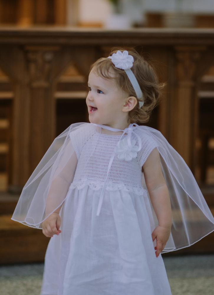 """Lininiai krikšto rūbeliai mergaitėms. suknele """"Line"""""""