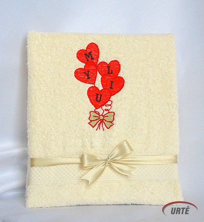 Meilės balionai - Myliu - Siuvinėtas rankšluostis