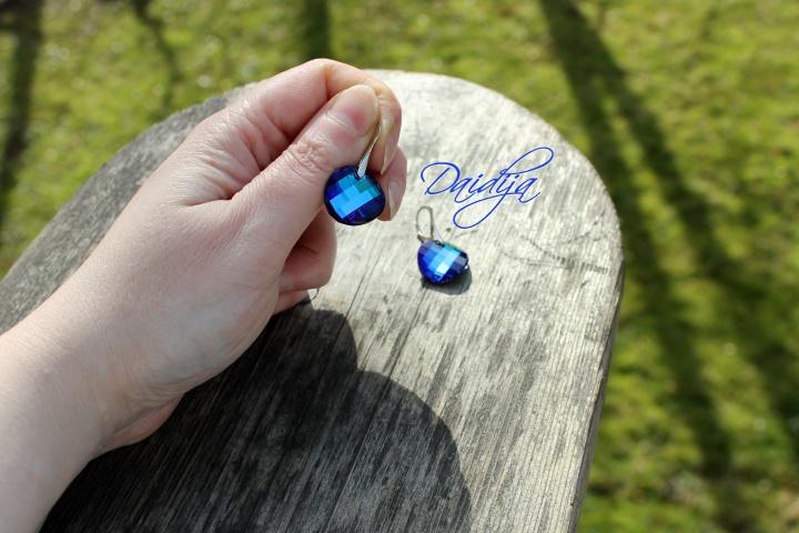 """Mėlyni Svarovskio kristalai """"Bermuda Blue"""", sidabriniai auskarų kabliukai"""