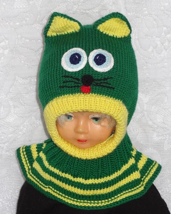 Merino vilnos kepurė šalmas Žalia katytė