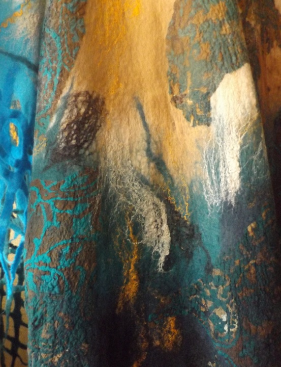 merino vilnos skraistė-tunika jūros tema