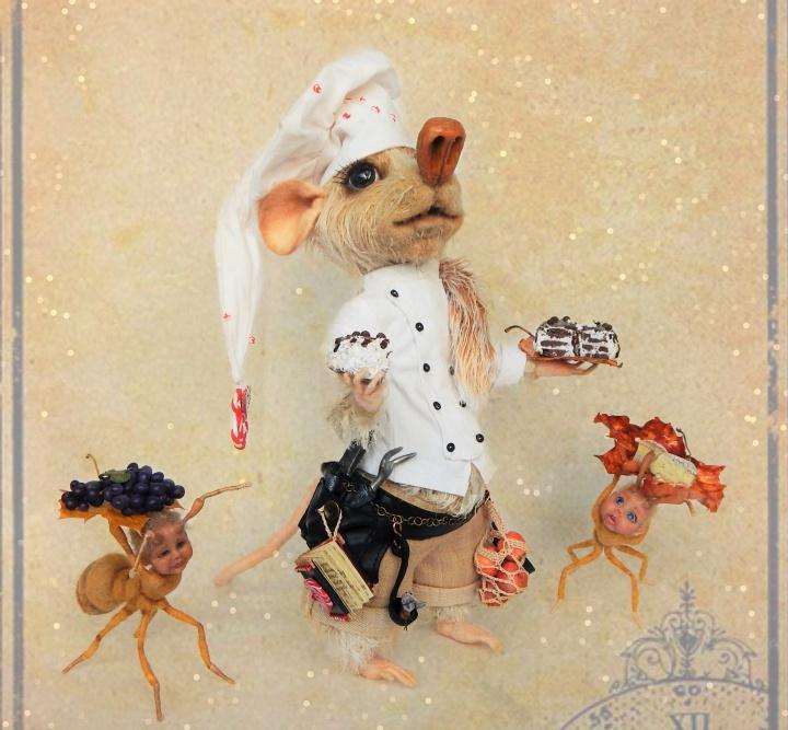 Nertas peliukas - kolekcinis žaislas - Slaptasis nykštukas virtuvės šefas ir mažieji pagalbininkai skruzdėliukai