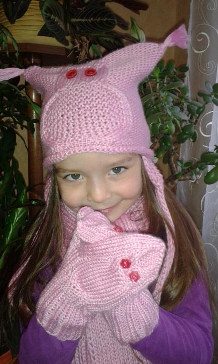 Pelėdžiukų kepurė ir pirštinės