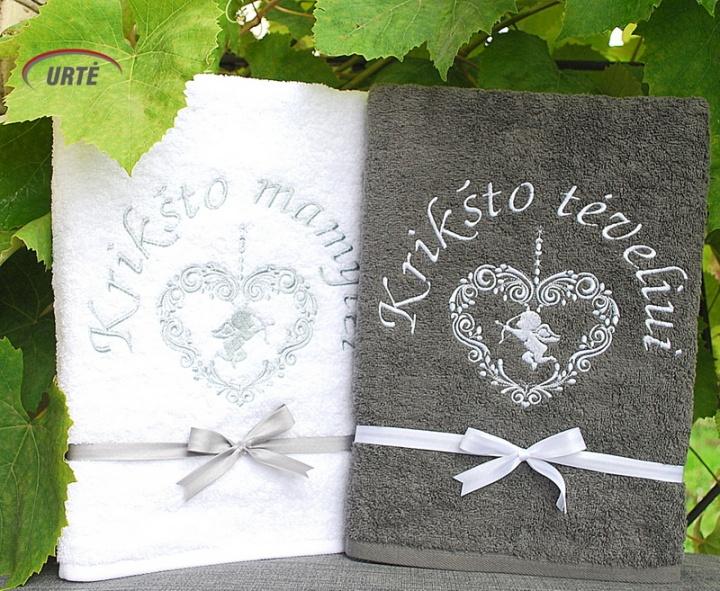 Širdies angelas - Siuvinėti rankšluosčiai Krikšto tėveliams