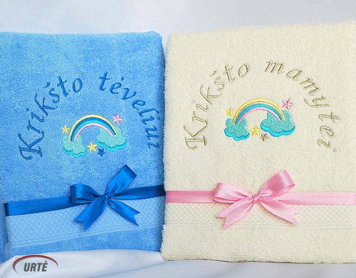 Vaivorykštės spalvos - Siuvinėti rankšluosčiai Krikšto tėveliams