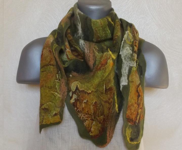 veltas šalikas samanų-rudens spalvų