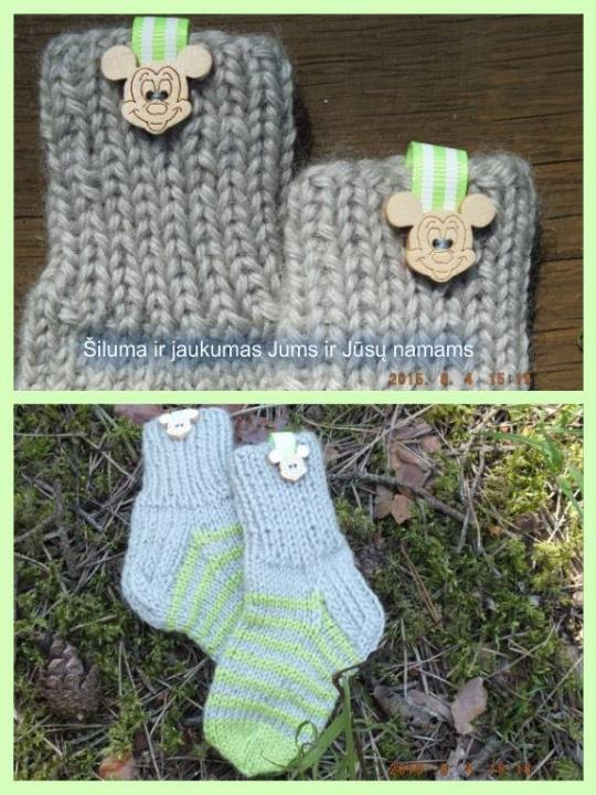 Vilnonės kojinytės kūdikiui su mikiu