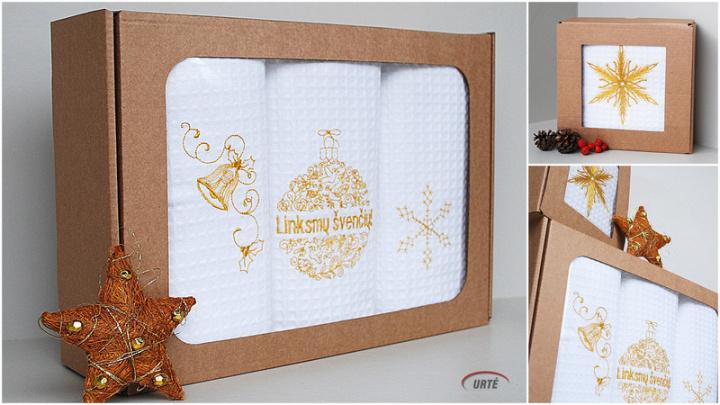 Auksinės Kalėdos - siuvinėti virtuviniai rankšluosčiai