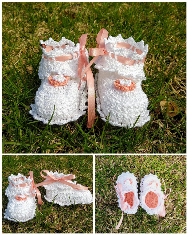 Balti mažosios princesės bateliai su rausvomis detalėmis