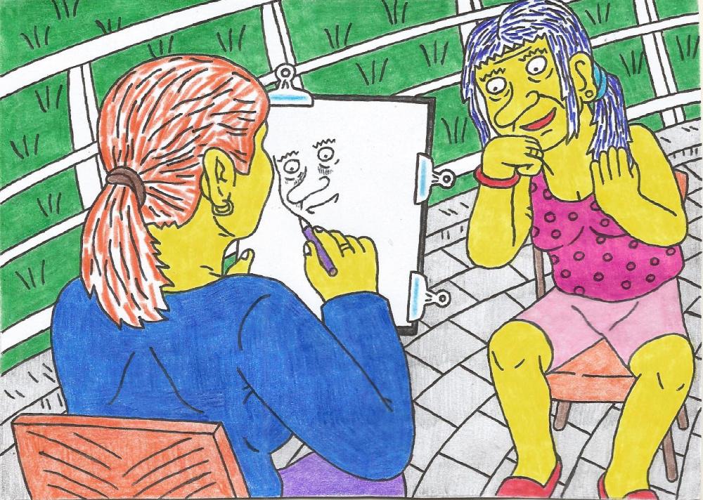 Burtininkė Nukliopa pozuoja dailininkei dėl savo būsimo portreto