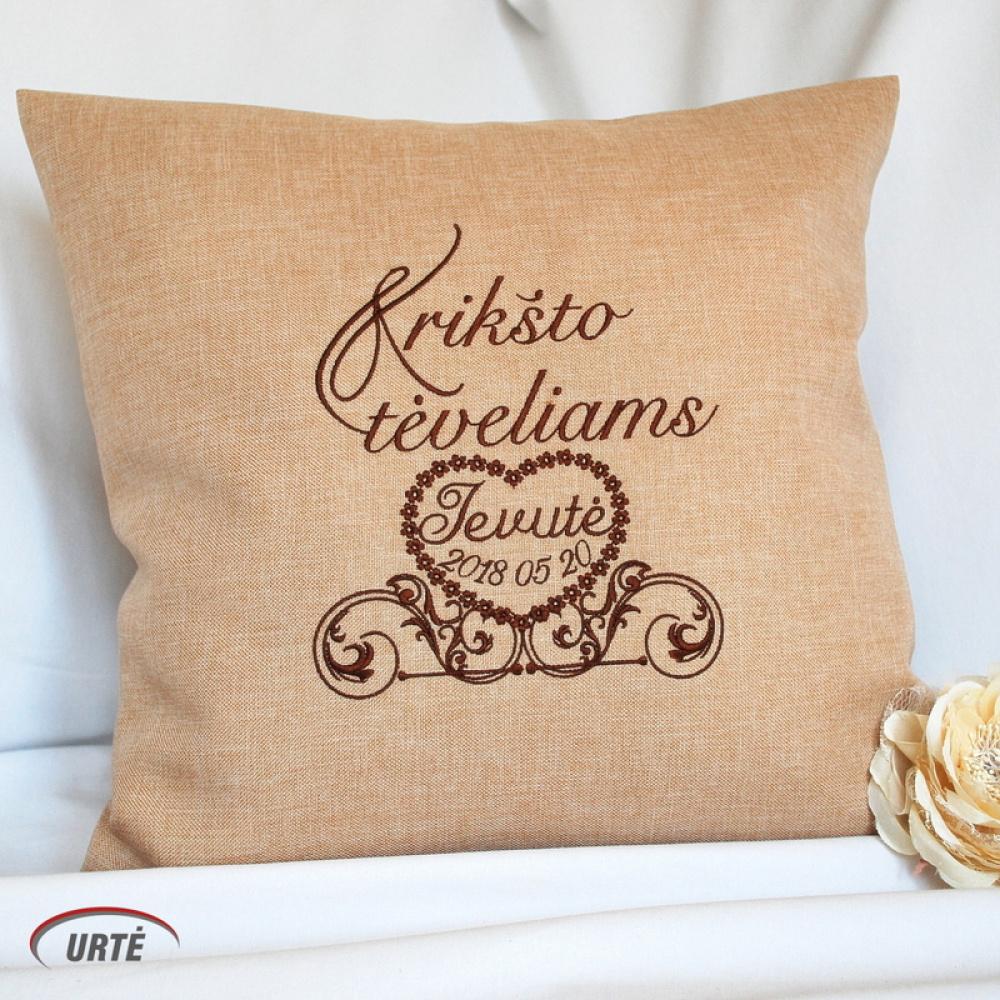 Dovana krikšto tėvams - siuvinėta dekoratyvinė pagalvėlė - Širdyje
