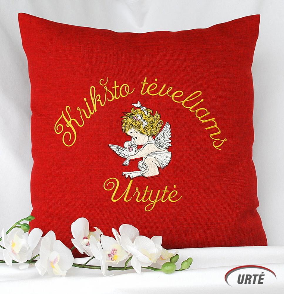 Dovana krikšto tėveliams - siuvinėta dekoratyvinė pagalvėlė - Angeliukas