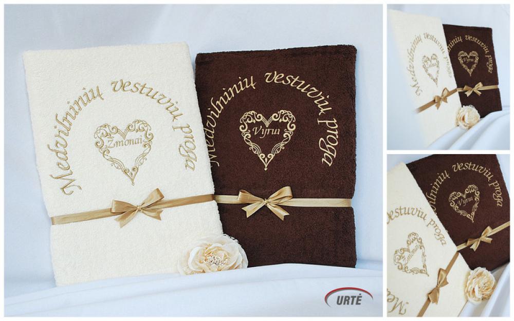 Dovana medvilninių vestuvių proga - siuvinėtų rankšluosčių komplektas