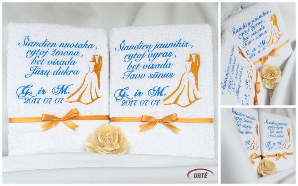 Dovanos tėvams vestuvių proga - siuvinėti rankšluosčiai