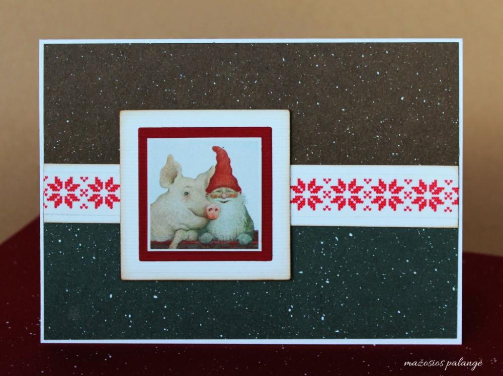 """kalėdinis atvirukas """"kad Kalėdos kiaulės nepakištų"""""""