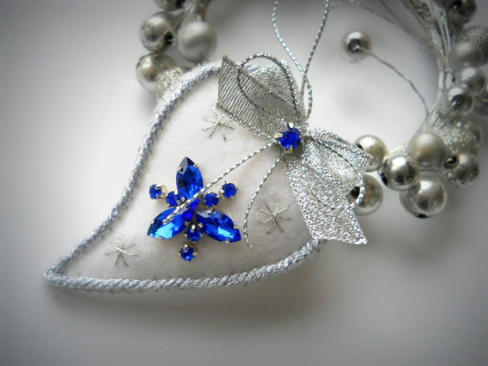 """kalėdinis žaisliukas burbulas, širdelė """"Blue"""""""