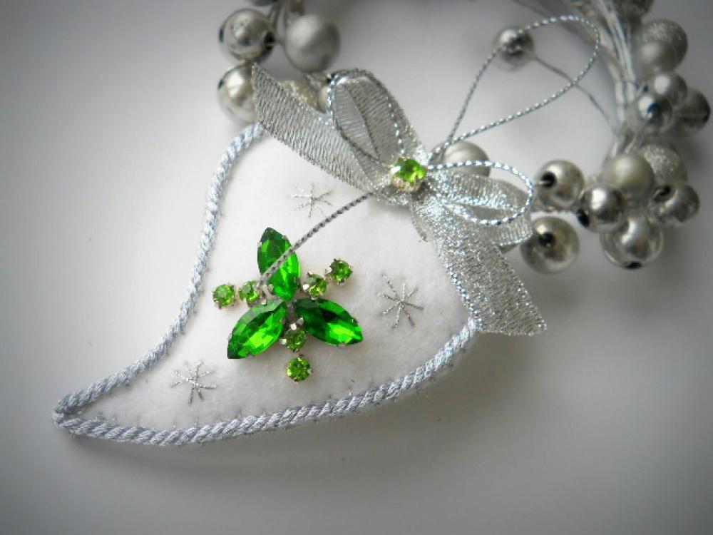 """kalėdinis žaisliukas širdelė, burbulas """"Green"""""""