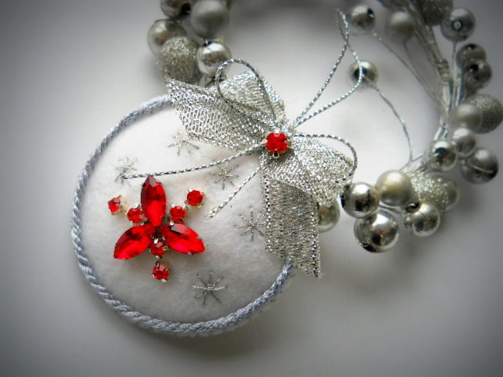 """Kalėdinis žaisliukas  širdelė, burbulas """"RED"""""""