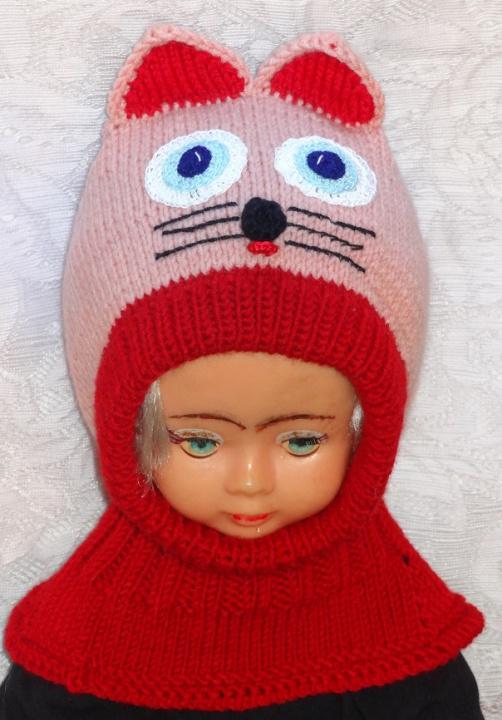 Kepurė šalmas mergaitei  Persikinė raudona katytė