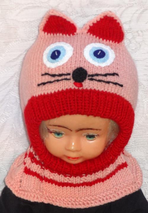 Kepurė šalmas mergaitei  Rožinė raudona katytė