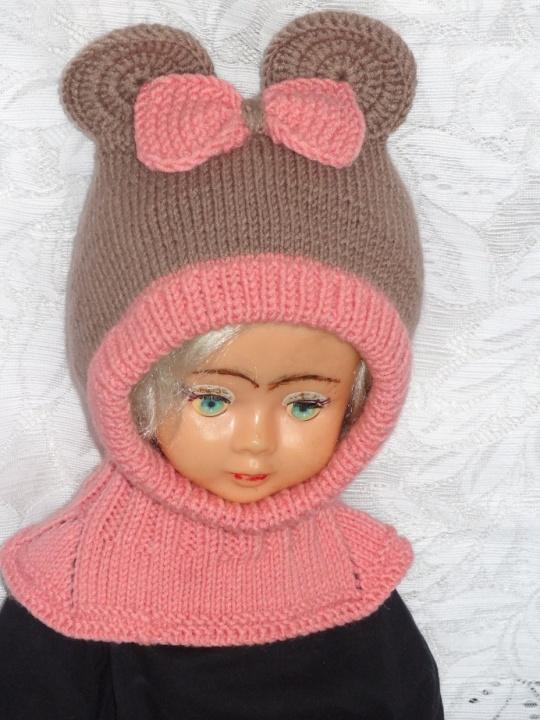 Kepurė šalmas mergaitei: Rudai rožinė pelytė