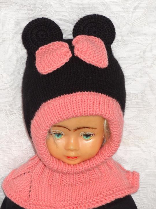 Kepurė šalmas Pelytė su bantuku