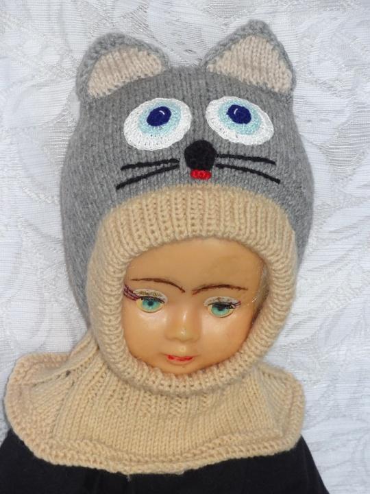 Kepurė šalmas Pilkai rudas katinas