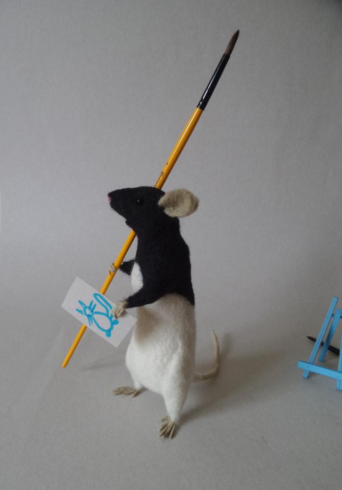 Laboratorinė žiurkė. Autoriniai žaislai. Augintinio portretas